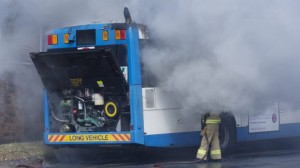 Traffic chaos as bus catches fire on Spit Road in Sydney's north